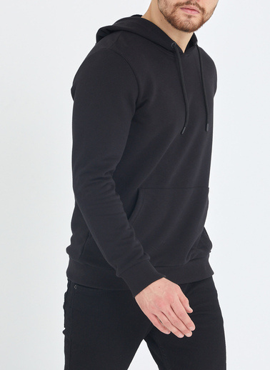 XHAN Su Yeşili Kapüşonlu Kanguru Cepli Yumuşak Dokulu Sweatshirt 1Kxe8-44483-38 Siyah